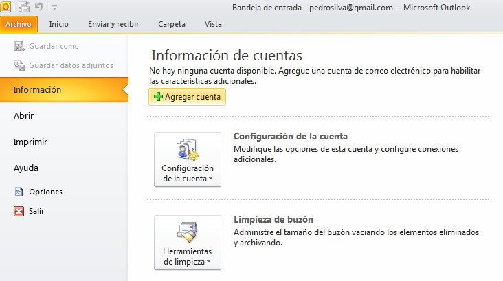 paso 1 tutorial configuración outlook 2010