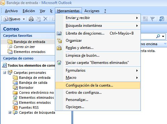 paso 1 configuración Outlook 2007