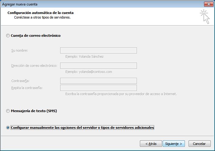 paso 2 configuración de Outlook 2010
