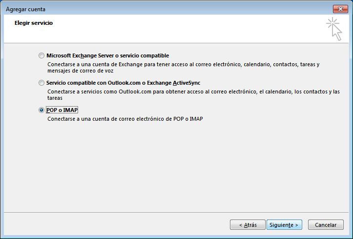 paso 3 configuración de Outlook 2013