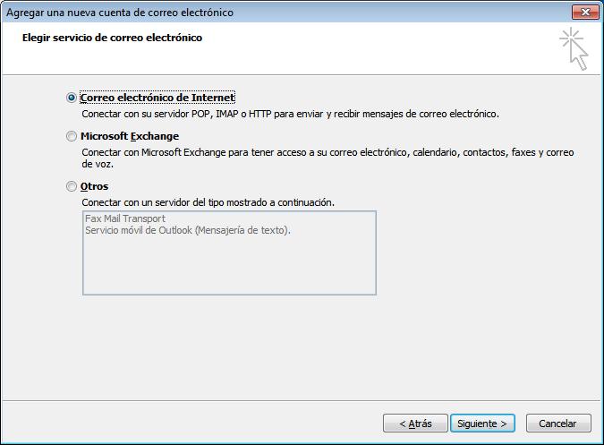 paso 5 configuración de Outlook 2007